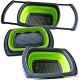 Sleek Modern Professional Collapsible Colander - Over-the-Sink Silicone Strainer by Kitchen Addicts   Space-Saver, Colorful, FOLDS to 1/4 Original Size! Extendable Handles, BPA-Free/Dishwasher-Safe!