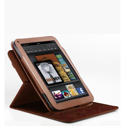 Poetic 360 degree Rotary leather case for Amazon Kindle Fire Landscape / Portrait View Dark Brown Not compatible with Kindle Fire HD tablet