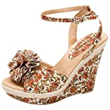 Top Moda Women's Book-60 Floral Ankle Strap Wedge Sandals
