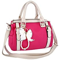 Hot Sale TANIKA Pink / Beige Butterfly Bow Tassel 2-Tone Double Top Handle Bowler Satchel Tote Handbag Purse Convertible Shoulder Bag