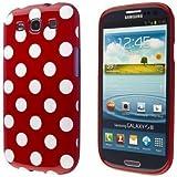 ECENCE Samsung Galaxy S3 i9300 S3 Neo i9301 Silikon TPU case schutz hülle handy tasche cover schale retro rot weiss gepunktet 22040106
