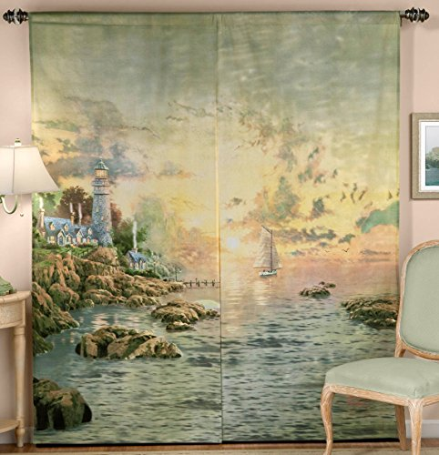 Thomas kinkade sea of tranquility window art curtain great for Painting sheer curtains