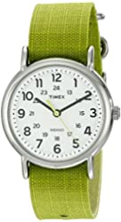 Timex Unisex TW2P659009J Weekender Stainless Steel Watch with Lime Green Nylon Band