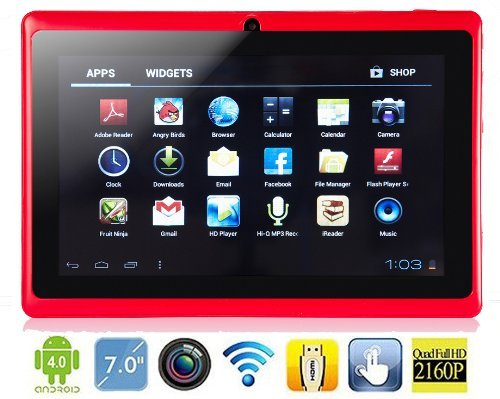 7 Inch FastTouch(TM) A13 GOOGLE Android 4.1 AllWinner Tablet PC, 4GB RED, Boxchip Cortex A8 1.2Ghz MID Capacitive Touch Screen G-Sensor WiFi, Camera, Skype Video Calling, Netflix Movies