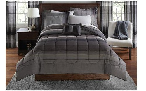 Black & Gray Striped Boys Queen Comforter Set (8 Piece Bed In A Bag)