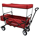 WonderFold Outdoor 2017 All New Collapsible Canopy Folding Wagon Utility Cart With 180 Degree Steering Telescoping...