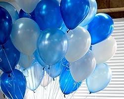 BALLOON JUNCTION Metallic HD Balloons (BLUE+ LIGHT BLUE + WHITE) - Pack of 51
