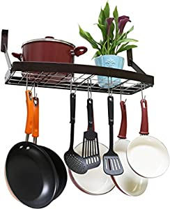 DecoBros Wall Mount Square Grid Pot Pan Rack, includes 8 hooks, Bronze