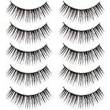 SODIAL(R) 5 x Paires Faux Cils Noir Epais Long pour Yeux + Colle Cosmetique