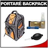 Portare' Multi-Use Laptop/iPad/Digital SLR Camera Backpack Case (Gray/Orange) with Cleaning Kit for Nikon D3100, D3200, D5000, D5100, D7000, D700, D800, D4 Digital SLR Cameras