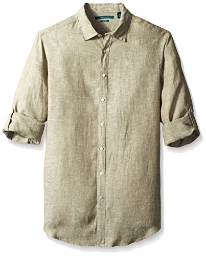 Perry Ellis Men's Big-Tall Rolled Sleeve Solid Linen Shirt, Burnt Olive, 5X-Large/Tall