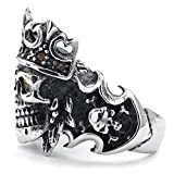 Adisaer Stainless Steel Mens Rings Retro Vintage Bands Skull King Crown Cubic Zirconia Silver Size 13