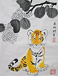 Oridental Artwork Unframed Hand Painted Art Chinese Brush Ink and Wash Watercolor Painting Drawing Picture on Rice Paper Tiger Decorations Decor for Office Living Room Bedroom