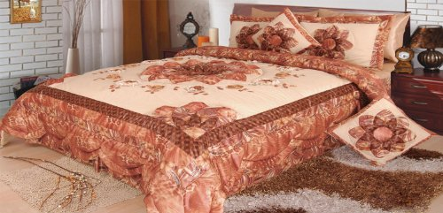 Dada Bedding Bm4304L Autumn Polyester Patchwork 5-Piece Comforter Set, Queen/Full, Bronze front-745207
