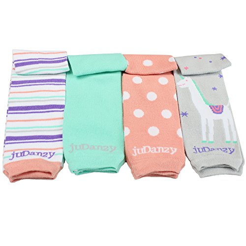 JuDanzy 4-pack Organic baby & toddler leg warmers gift set for boys & girls (Newborn (up to 12 pounds), Classy Girl)