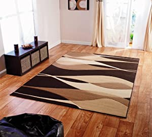 "Very Large Modern Rug in Brown 160 x 230 cm (5'3"" x 7'7"") Carpet"