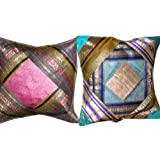 2 Blue Pink Ethnic Vintage Sari Zari Borders Toss Pillow Cushion Coversby Mogulinterior