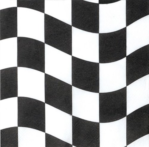 Creative Converting 18 Count Beverage Napkins, Black and White Check