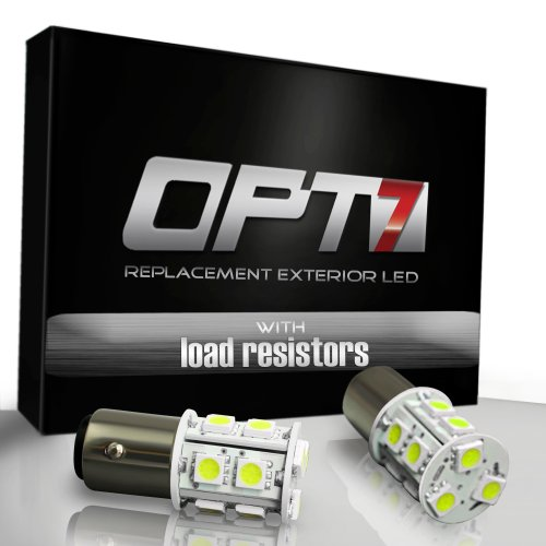 Opt7® 1157 Bay15D Advanced Bright 13-Smd Led W/ Load Resistors - Brake/Signal/Tail Light Bulbs - White