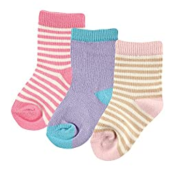 Hudson Baby Touched By Nature Organic Socks 3 Pack, Pink, 0-6 Months