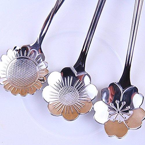 SHENFAN Stainless Steel Tableware Creative Flower Coffee Spoon, Stirring Spoon, Sugar Spoon, Stir Bar Spoon, Mixing Spoon, Tea Spoon, Ice Tea Spoon, Ice Cream Spoons (8, Silver)