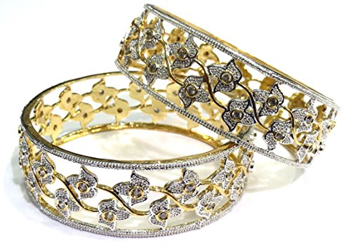 Shingar Jewellery Party Wear American Diamond A.d. Bangles Churi Kada Kangan Set in 2.8 Size For Women (6930-2.8-jb-a-1)