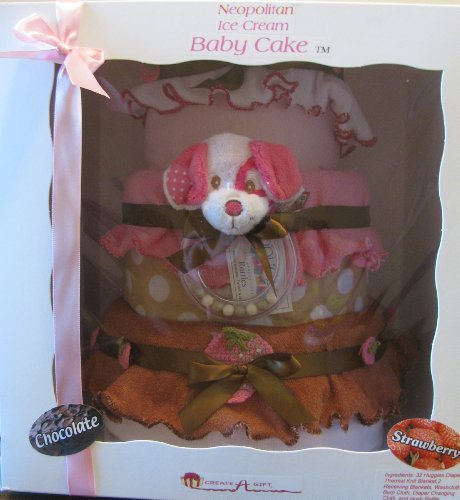 Create-A-Gift Neopolitan Baby Cake Diaper Gift Set, Ice Cream