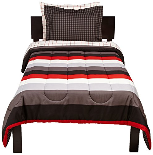 Pinzon 5 Piece Bed In A Bag Twin Red Simple Stripe