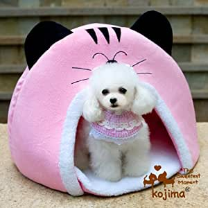 Cat Face Pet Bed Round Cat Bed Dog Tent (Pink)
