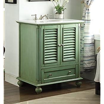 "30"" Shutter Blinds Vintage Green Keysville Bathroom Sink vanity - Model HF-1087G"
