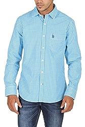 US Polo Assn. Men's Slim Fit Cotton Shirt (USSH3321_Blue_M)