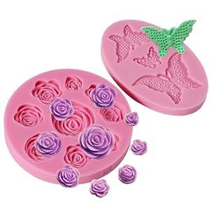 2 x molde de silicona con forma de rosa y mariposa para - Moldes silicona amazon ...