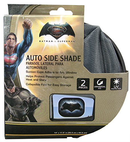 Plasticolor 003738R01 Batman vs. Superman Warner Brothers 2-Piece Side Window Sunshade at Gotham City Store