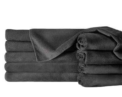 "Towels by Doctor Joe Safe-2-Bleach Deep Black 16"" x 27"" Microfiber Salon Towel"