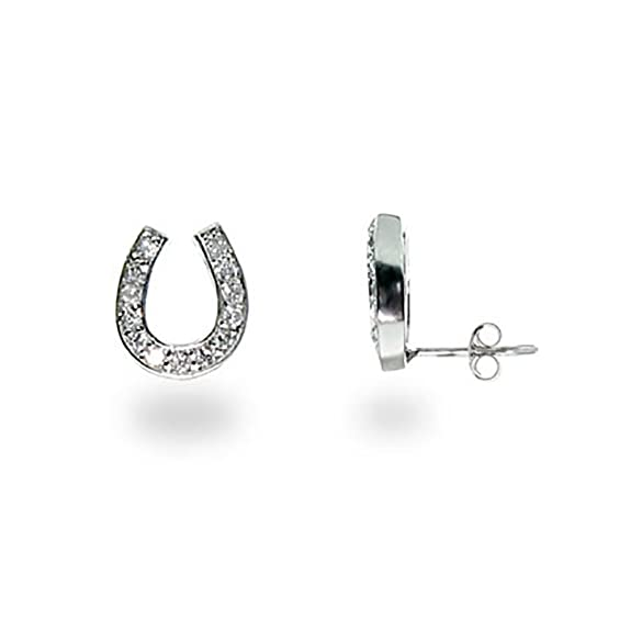 Sterling Silver Cubic Zirconia Lucky Horseshoe Earrings