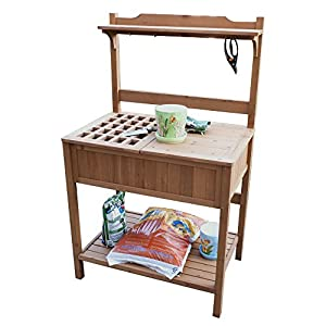 Merry garden potting bench with recessed - Potting table with storage ...