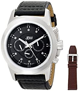 JBW Men's J6294-setA Diamond-Accented Stainless Steel Watch with Interchangeable Bands