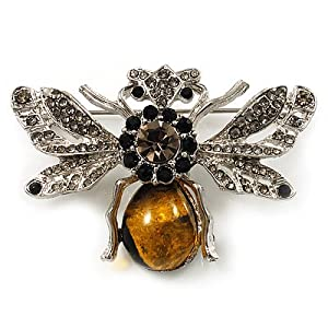 Art Deco Bumble-Bee Brooch (Silver Tone)