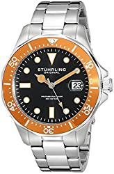 Stuhrling Original Men's 824.04 Aquadiver Date Orange Bezel Stainless Steel Watch