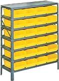 "Edsal PB311 Industrial Gray Heavy Duty Steel Shelving Storage Rack with 24 Poly Plastic Bins, 36"" Width x 42"" Height x 12"" Depth"