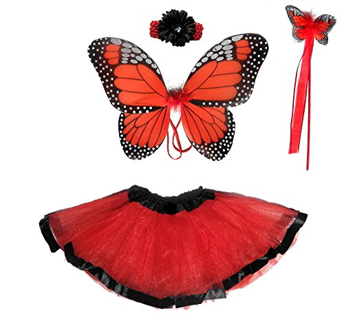 Girls Red Monarch Butterfly Costume 5 Pc Set