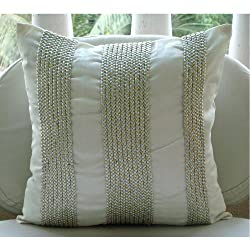 Metallic Attraction - Throw Pillow Covers - Silk Pillow Cover with Metallic Leather Tape