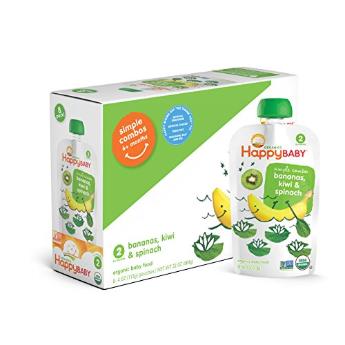 Happy Baby Organic Stage 2 Baby Food, Simple Combos, Bananas, Kiwi & Spinach, 4 Ounce, 8 count (Pack of 2) (Dr Sears Baby Food compare prices)