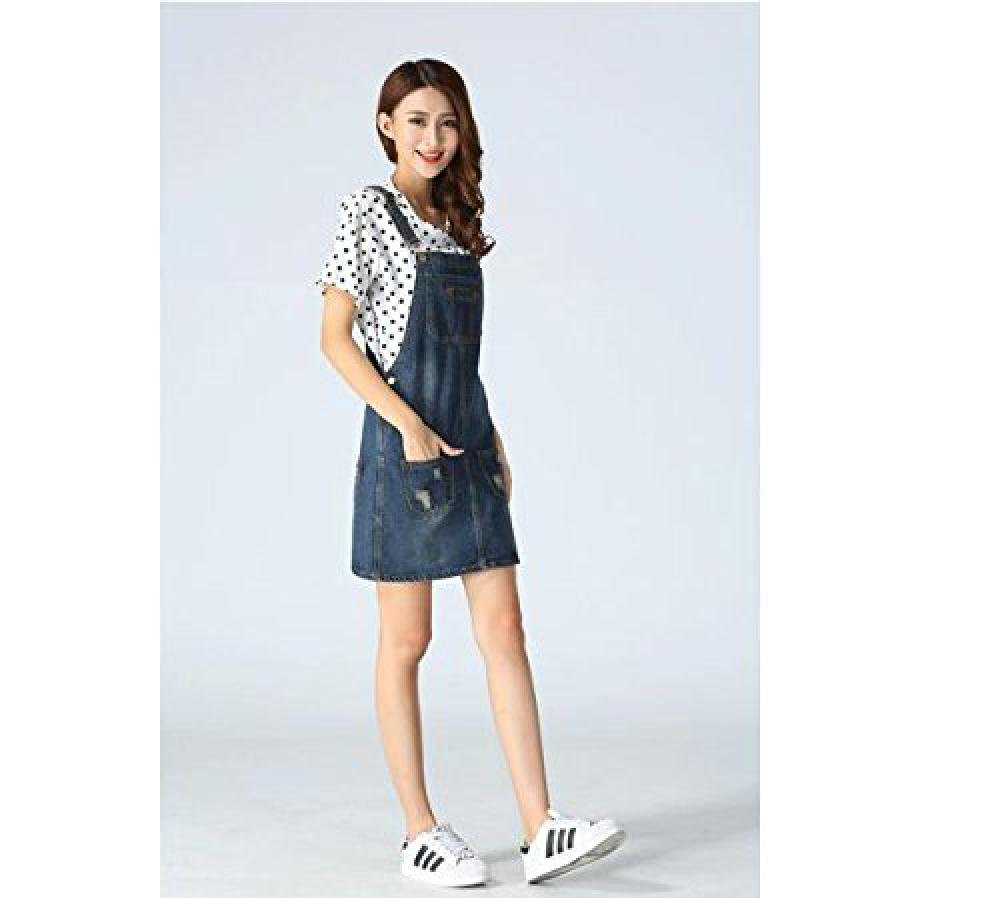 Skirt BL Women's Blue Vintage High Waist Suspender Denim Overall Mini Jean Dress 1