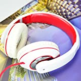 Ip780 White + Red Plug N Play Dj Style Pink Kids Headphones for Children - 3.5mm Standard Jack Plug