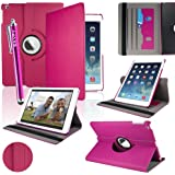 SAVFY New Apple iPad Air (2013 Version) Hot Pink Premium PU Leather 360 Degree Rotating Stand Smart Case Cover Skin 2 Card Slots for Apple iPad Air with Built-in Magnetic Auto Sleep Wake Feature, EXTRA Gift: SAVFY Stylus Pen + SAVFY Screen Protector Film (Available in Multiple Colors)