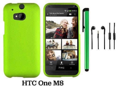 Htc One (M8) Solid Plain Color Hard Protector Cover Case (For 2014 Htc New Flagship Android Phone; Carrier: Verizon, At&T, T-Mobile, Sprint) + 3.5Mm Stereo Earphones + 1 Of New Assorted Color Metal Stylus Touch Screen Pen (Neon Green)