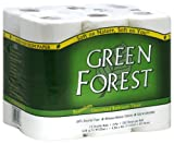 Green Forest Unscented Bathroom Tissue, 100% Recycled Paper,  Whitened Without Chlorine, 352 Sheets Roll 12 Double Roll Packages (Pack of 4)