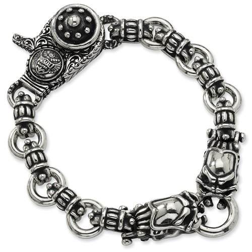 Sterling Silver Antiqued Alien Heavy 9in Bracelet Length 9
