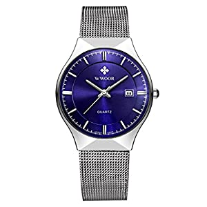 Men's Elite Sport Quartz Watch Male Silver-Tone Ultrathin Stainless Steel Mesh Band Watch With Date Blue